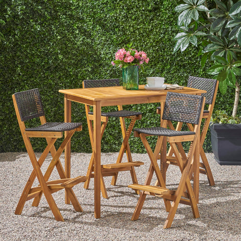"Outdoor 45"" Rectangular 5 Piece Wood and Wicker Bar Height Set - NH643903"