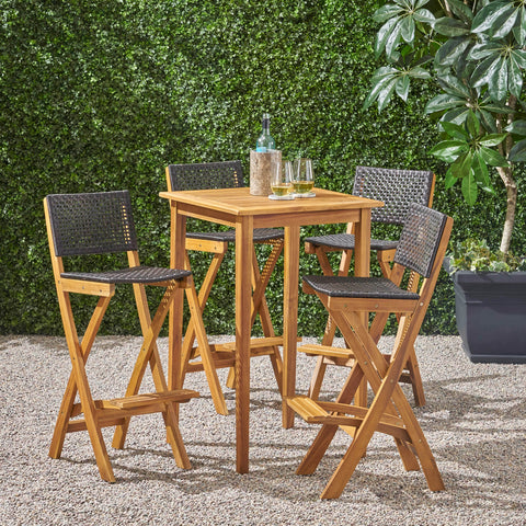 "Outdoor 26"" Square 5 Piece Wood and Wicker Bar Height Set - NH053903"