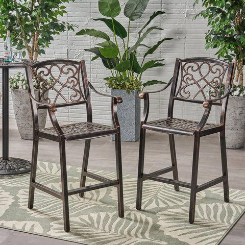 "Outdoor 28"" Aluminum Barstool (Set of 2), Copper Finish - NH938803"