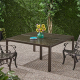 Modern Aluminum Dining Table with Woven Accents - NH348803