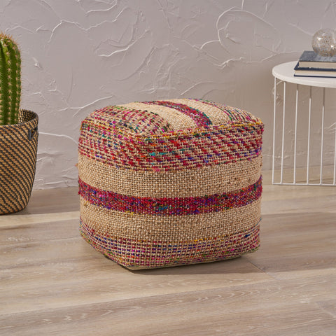 Boho Hemp Silk and Cotton Ottoman Pouf - NH533903