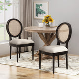 Wooden Dining Chairs with Cushions (Set of 2), Beige, Natural, and Black - NH242903