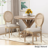 Wooden Dining Chair with Wicker and Fabric Seating (Set of 2) - NH680903