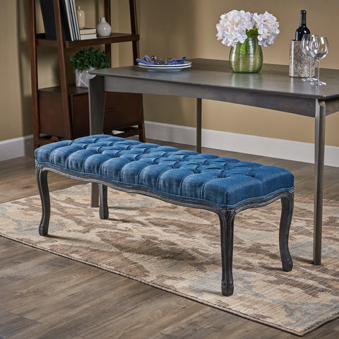 Tufted Diamond Dining Bench with Rubberwood Legs - NH279803
