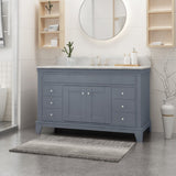 "48"" Wood Single Sink Bathroom Vanity with Marble Counter Top with Carrara White Marble - NH598703"