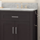 "72"" Wood Double Sink Bathroom Vanity with Marble Counter Top with Carrara White Marble - NH019703"
