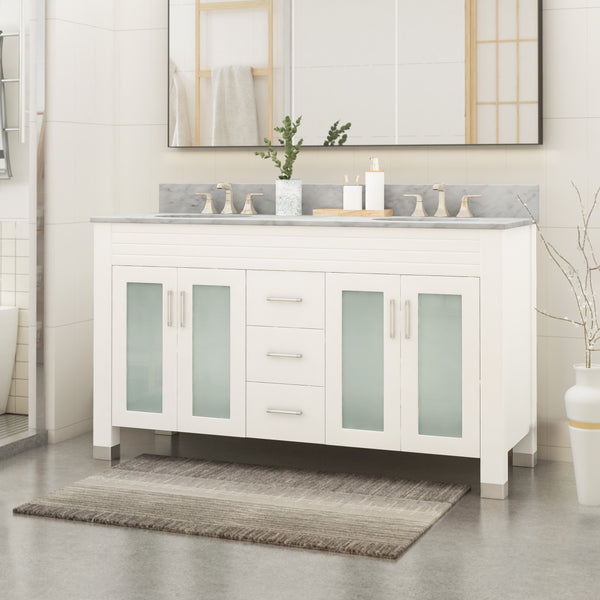 "60"" Wood Double Sink Bathroom Vanity with Marble Counter Top with Carrara White Marble - NH619703"