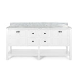 "72"" Wood Double Sink Bathroom Vanity with Marble Counter Top with Carrara White Marble - NH829703"