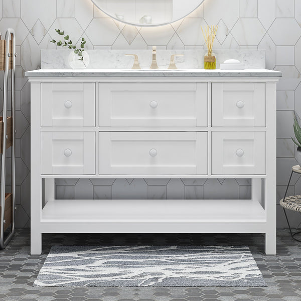 "48"" Wood Single Sink Bathroom Vanity with Marble Counter Top with Carrara White Marble - NH688703"
