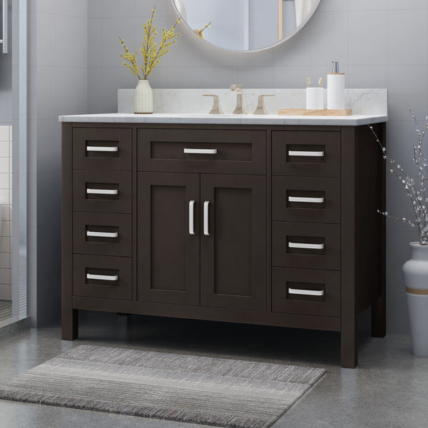 "48"" Wood Single Sink Bathroom Vanity with Marble Counter Top with Carrara White Marble - NH409703"