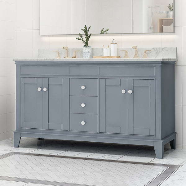 "60"" Wood Double Sink Bathroom Vanity with Marble Counter Top with Carrara White Marble - NH898703"