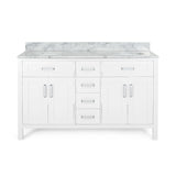 "60"" Wood Double Sink Bathroom Vanity with Marble Counter Top with Carrara White Marble - NH709703"