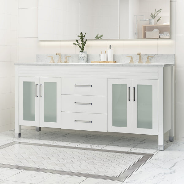 "72"" Wood Double Sink Bathroom Vanity with Marble Counter Top with Carrara White Marble - NH919703"