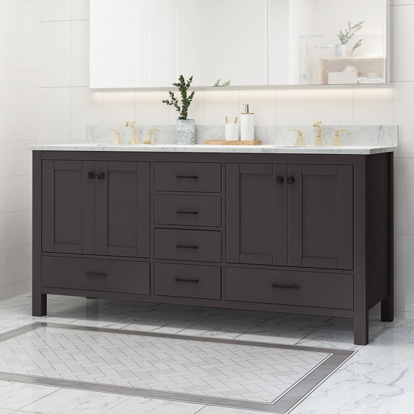 "72"" Wood Double Sink Bathroom Vanity with Marble Counter Top with Carrara White Marble - NH739703"