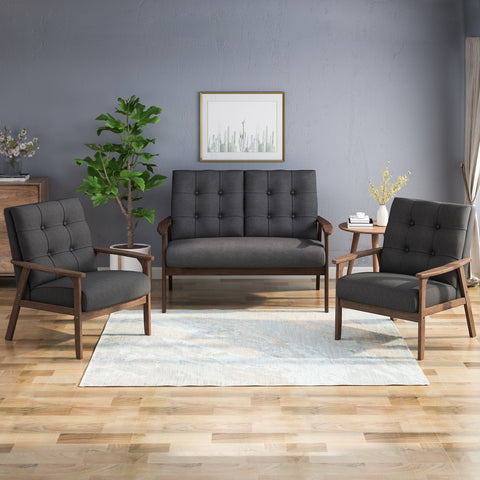 Mid-Century Modern 3-Piece Fabric Chairs & Love Seat Living Room Set - NH807903