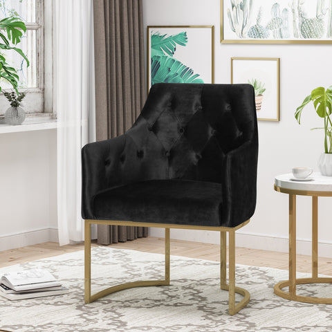 Modern Tufted Glam Accent Chair with Velvet Cushions and U-Shaped Base - NH859803