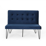 Minimalist Dining Bench Settee with Tufted Velvet Cushion and Iron Legs - NH928803