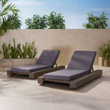 Outdoor Acacia Wood Chaise Lounge and Cushion Sets (Set of 2) - NH958903