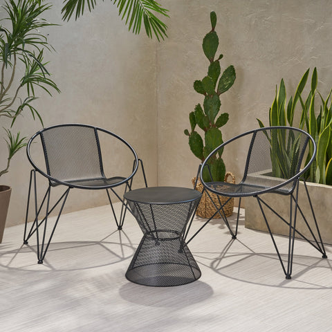 Modern Outdoor Iron Chat Set with Side Table - NH643013