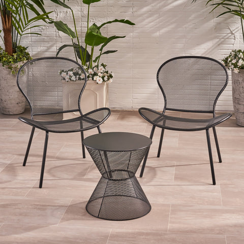 Modern Outdoor 2 Seater Iron Chat Set with Side Table - NH853013
