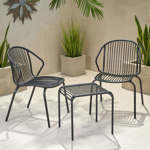 Outdoor Modern Iron 2 Seater Chat Set - NH627013