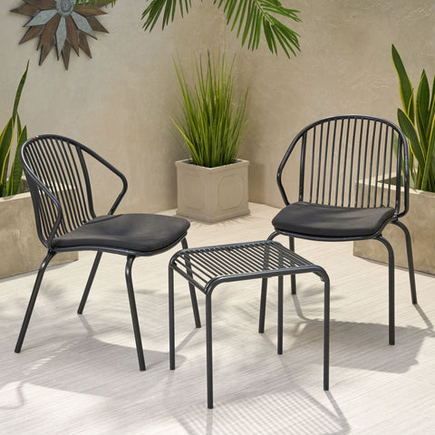 Outdoor Modern Iron 2 Seater Chat Set with Cushions - NH027013