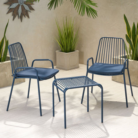 Outdoor Modern Iron 2 Seater Chat Set with Cushions - NH537013
