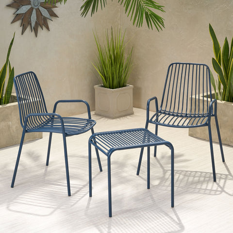 Outdoor Modern Iron 2 Seater Chat Set - NH837013
