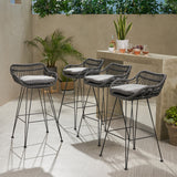 Outdoor Wicker Barstools with Cushions (Set of 4) - NH950013
