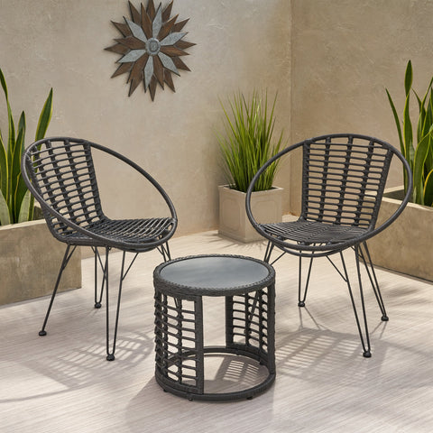 Outdoor Modern Boho 2 Seater Wicker Chat Set with Side Table - NH444013