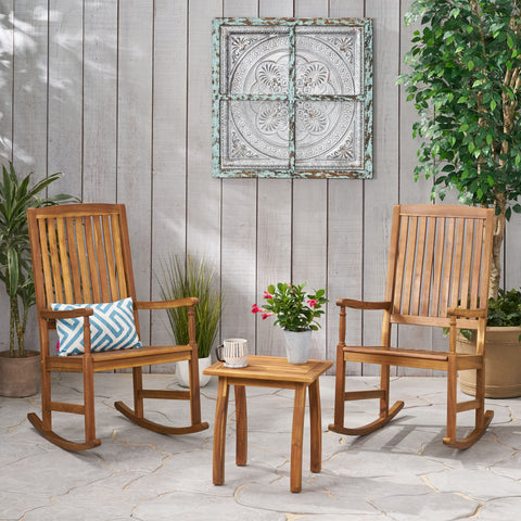 Outdoor 2 Seater Acacia Wood Rocking Chairs and Side Table Set - NH607903