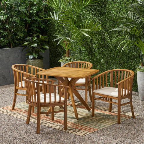 Outdoor 4 Seater Acacia Wood Square Dining Set - NH727903