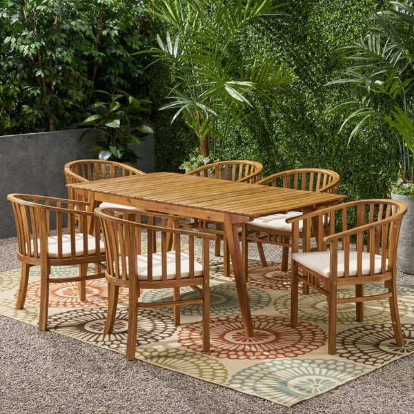 Outdoor 6 Seater Acacia Wood Dining Set - NH337903