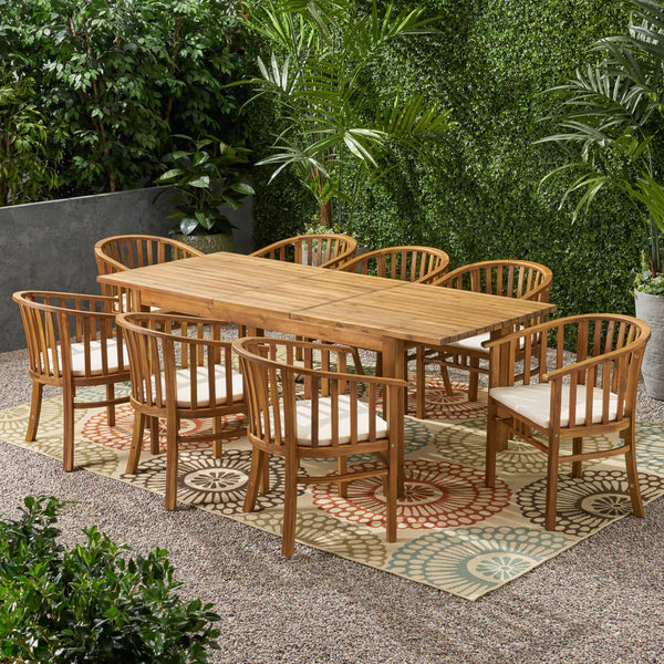 Outdoor Expandable 8 Seater Acacia Wood Dining Set - NH137903