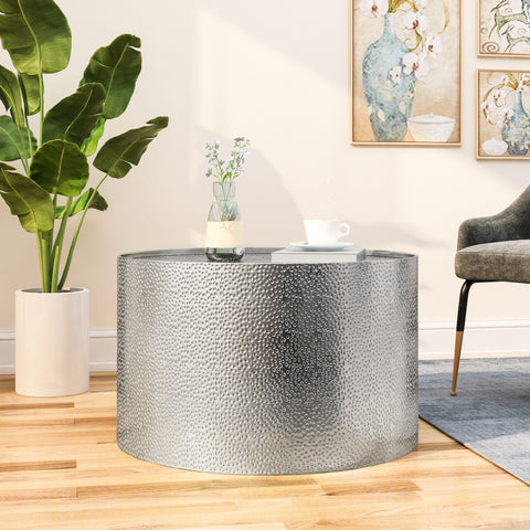 Modern Round Coffee Table with Hammered Iron - NH449803