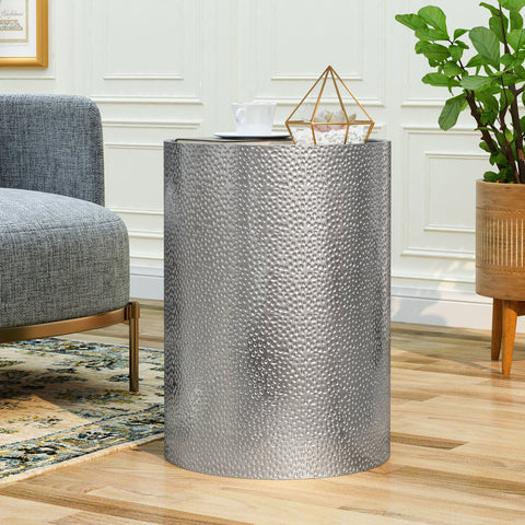 Modern Round Accent Table with Hammered Iron - NH649803