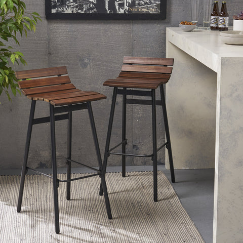 "35"" Wooden Barstool (Set of 2) - NH490903"