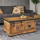 Modern Industrial Mango Wood Coffee Table, Natural Finish and Black - NH792013