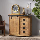 Modern Industrial Mango Wood Cabinet, Natural Finish and Black - NH892013