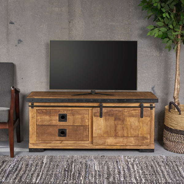 Farmhouse Wood'n'Metal Drawers & Shelves TV Stand - NH003013