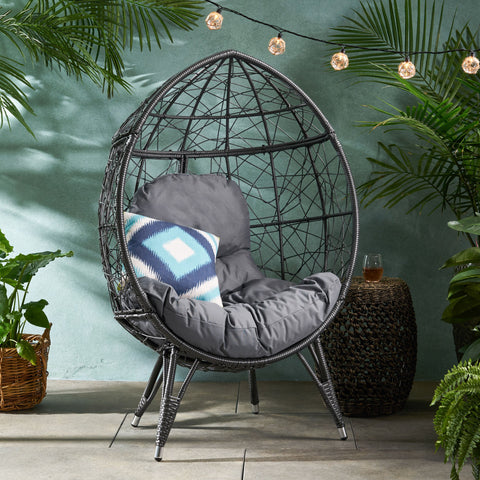 Outdoor Wicker Teardrop / Egg Chair with Cushion - NH613113