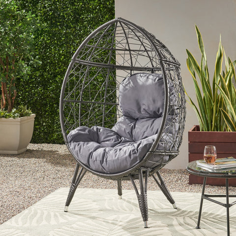 Outdoor Wicker Teardrop Chair with Cushion - NH023113