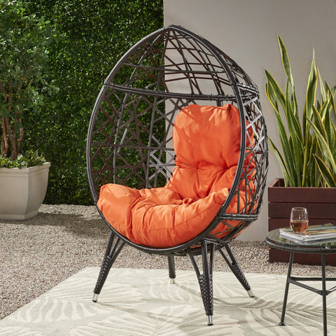 Outdoor Wicker Teardrop Chair with Cushion - NH223113