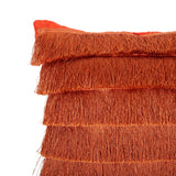 Glam Square Fabric Pillow Cover with Fringes - NH824013