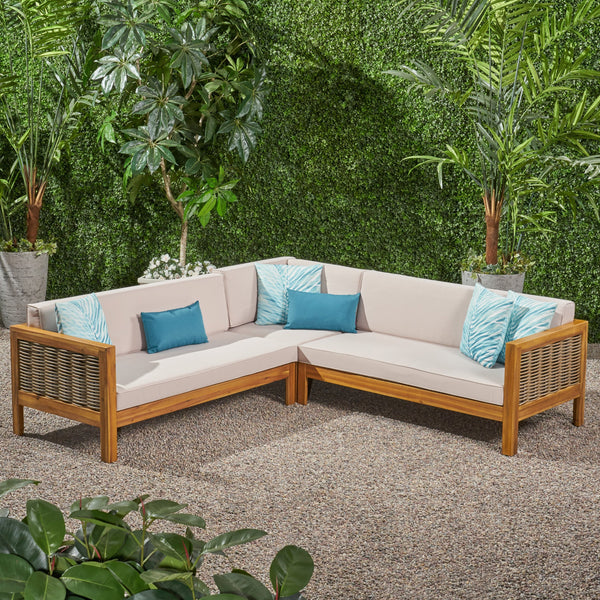 Outdoor Wood and Wicker 5 Seater Sectional Sofa Set - NH525903