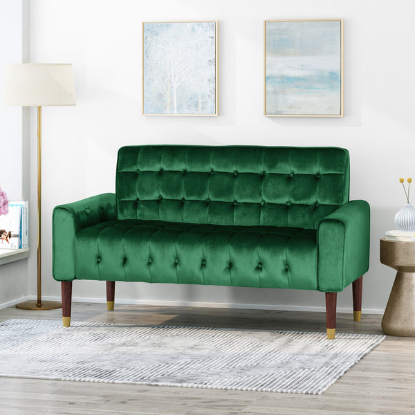 Tufted Velvet Loveseat with Gold Tipped Tapered Legs - NH372903