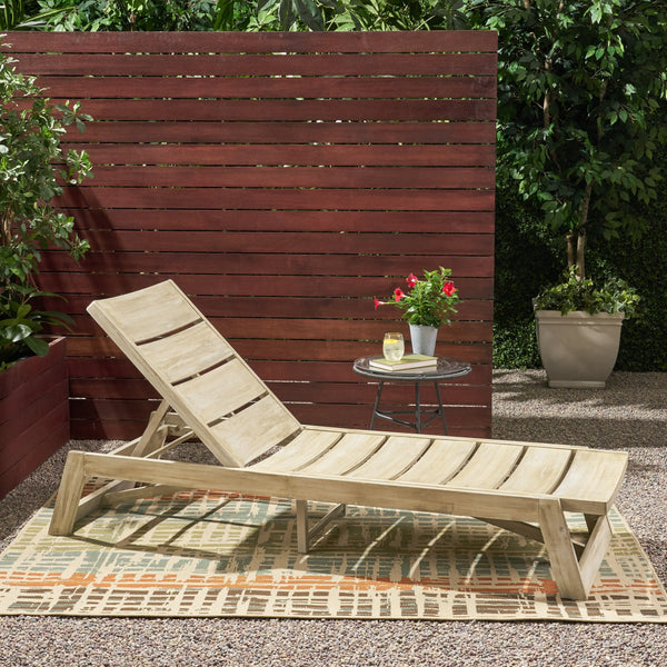 Outdoor Wood and Iron Chaise Lounge - NH118903