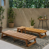 Outdoor Acacia Wood Chaise 3 Piece Lounge Set - NH952013