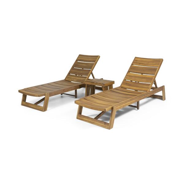 Outdoor Acacia Wood 3 Piece Chaise Lounge Set - NH237213