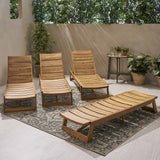 Outdoor Acacia Wood Chaise Lounge (Set of 4) - NH752013